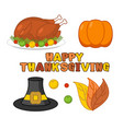 thanksgiving icons set roasted turkey and fresh vector image