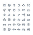 thin line icons set with transport vector image