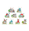 traditional rural windmill set ecological vector image