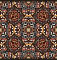 vintage seamless mosaic damask tile design pattern vector image vector image