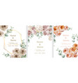 wedding cards set with watercolor roses vintage vector image vector image