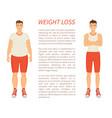 weight loss man transformation vector image vector image