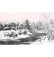 Winter Watercolor Landscape vector image vector image