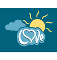 word love with heart on cloud vector image vector image