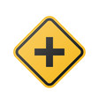 yellow cross road sign vector image vector image