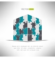 Puzzle cube in pespective Building construction vector image