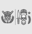 Skull Military Helmet with Knifes vector image