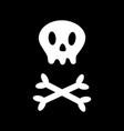 skull with bone crosswise icon white crossbones vector image