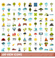 100 view icons set flat style