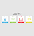 4 corner icons vector image vector image