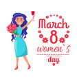 8 march womens day poster with happy girl greeting vector image vector image