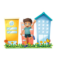 A boy waving in front of the high buildings vector image vector image