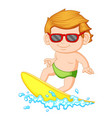 a young boy learning surfing vector image