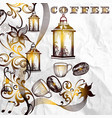 antique coffee background with grains vector image vector image