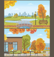autumn parks with bridge over pond and cozy cafe vector image