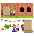 banner template with people at the castle vector image vector image