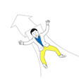 businessman falling on down arrow vector image vector image
