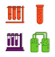 chemical tube icon set color outline style vector image