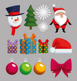 christmas decoration set icons vector image