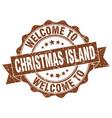 christmas island round ribbon seal vector image vector image