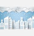 cityscape with rain rainy season paper art style vector image vector image