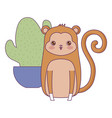 cute monkey animal with cactus in pot vector image vector image