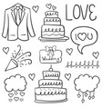 doodle of element wedding hand draw style vector image vector image