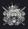 ferocious tiger head in royal crown vector image