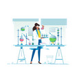 flat young beauty woman chemist with flasks vector image vector image