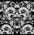 floral black and white damask seamless pattern vector image vector image
