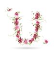 Floral letter U for your design vector image vector image