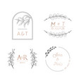floral wedding monogram set modern minimalistic vector image vector image
