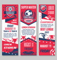 Football sport game match banner with soccer ball