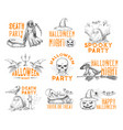 halloween sketch icons for holiday party vector image vector image