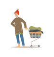 homeless man character pushing shopping cart with vector image
