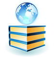 Icon of books and globe vector image vector image