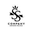 initial letter ss with crown logo vector image vector image