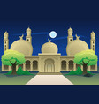 islamic mosque at night time vector image vector image