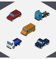 isometric automobile set of lorry suv truck and vector image vector image