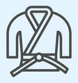 Kimono line icon asian martial art costume judo