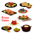 korean cuisine icon with fish and meat dish vector image vector image