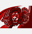 lion with roses on colored background vector image vector image
