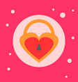 lock heart shaped icon on pink background vector image