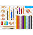 multicolored sharpened pencils transparent set vector image vector image