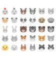 muzzles of animals cartoonmonochrom icons in set vector image vector image