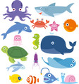 ocean animal fish whale crab octopus shark vector image