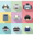 office technician icons set flat style vector image