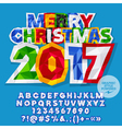 Paper sticker Merry Christmas 2017 greeting card vector image