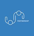 partnership business logo linear banner team vector image