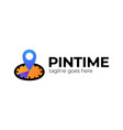 pin time logo template design clock and map vector image